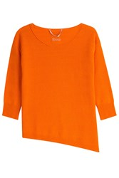 81 Hours By Dear Cashmere Cashmere Pullover With Asymmetric Hem Orange