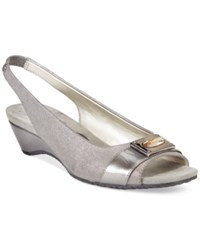 Anne Klein Halina Peep Toe Pumps Pewter Shimmer
