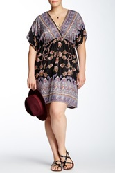Stevie And Lindsay Printed Surplice Kaftan Dress Plus Size Multi