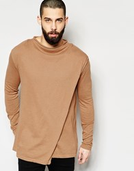 Asos Jumper With Zip Back And Funnel Neck Camel Brown