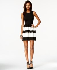 Bar Iii Striped Dress Black Combo