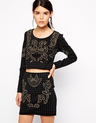 American Retro Johnny Cropped Embellished Long Sleeve Top Black