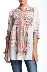 Biya 3 4 Sleeve Embroidered Tunic White