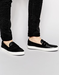 New Look Casual Style Loafer In Crocodile Effect Black