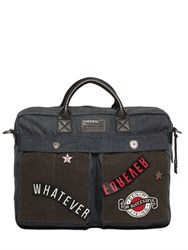 Diesel Denim And Felt Laptop Bag With Patches