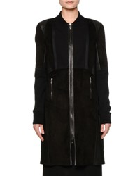 Callens Long Leather Bomber Coat Black
