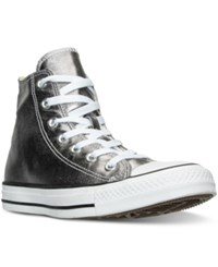 Converse Women's Chuck Taylor High Top Metallic Leather Casual Sneakers From Finish Line Gunmetal White Black