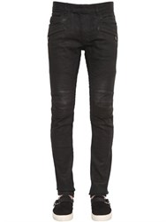 Balmain 17Cm Biker Coated Stretch Denim Jeans