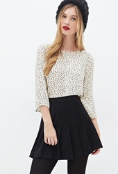 Forever 21 Polka Dot Chiffon Top Cream Black