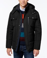 London Fog Men's Hooded Puffer Parka Black