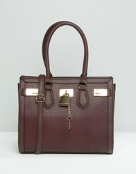 Aldo Structured Tote With Faux Snake Detail Oxblood