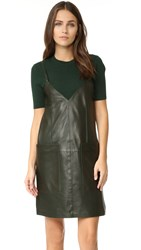 Aeron Leather Shift Dress Dark Olive Green