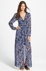 Fire Floral Print Long Sleeve Maxi Dress Navy Multi