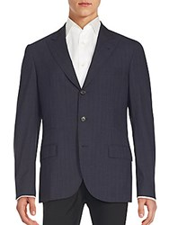 Brunello Cucinelli Striped Wool Blazer C008 Navy