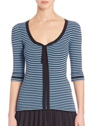 Marc Jacobs Striped Scoopneck Sweater Blue