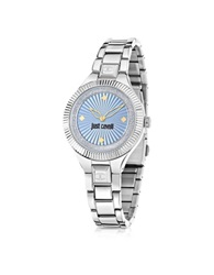 Just Cavalli Just Indie Silver Tone Stainless Steel Women's Watch W Blue Dial