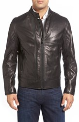 Andrew Marc New York Men's Vince 'Windsor' Lambskin Leather Racer Jacket Black