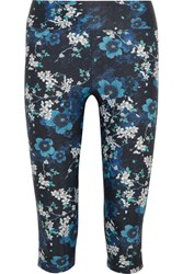 The Upside Power Cropped Floral Print Stretch Jersey Leggings Blue