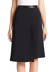 Narciso Rodriguez Leather Trimmed Half Skirt Black