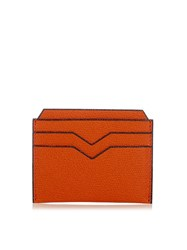 Valextra Grained Leather Cardholder Orange