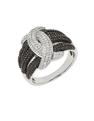 Lord And Taylor Sterling Silver Braided Diamond Ring 0.75 Tcw Black