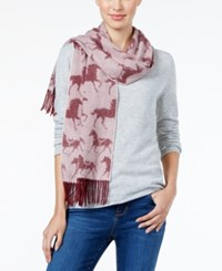 Charter Club Horse Print Woven Cashmere Scarf Only At Macy's Mulberry Spice