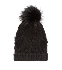 Dolce And Gabbana Cable Knit Pom Pom Hat Female Black
