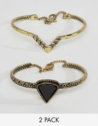 Asos Triangle Etched Bracelet Pack Gold And Black Multi