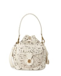 Ralph Lauren Mini Ricky Lace Cut Leather Bucket Bag Cream Ivory Girl's