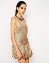 Cynthia Vincent Embellished Drop Waist Dress Metallicjacquard