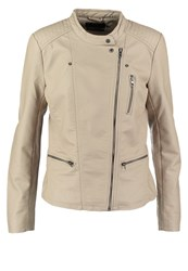 Only Onlfreya Faux Leather Jacket Simply Taupe