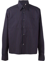 Romeo Gigli Vintage Striped Boxy Fit Shirt Blue