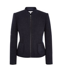 Cc Zip Front Boiled Wool Jacket Navy