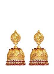 Aishwarya Ruby 18K Yellow Gold Plated Silver Dome Earrings Red Metallic