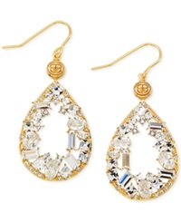 Sis By Simone I Smith White Crystal Teardrop Earrings In 18K Gold Over Sterling Silver