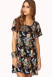 Forever 21 Fancy Floral Babydoll Dress Black Green