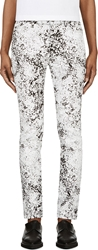 Mcq By Alexander Mcqueen Black And White Crackled Paint Skinny Jeans