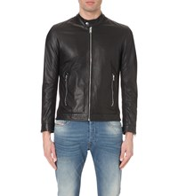 Diesel L Franklin Perforated Leather Jacket Black