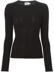 Fausto Puglisi Cable Knit Round Neck Sweater Black