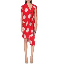 Anglomania Cloud Polka Dot Print Crepe Dress Red Stone