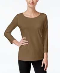 Charter Club Three Quarter Sleeve Top Only At Macy's Salty Nut