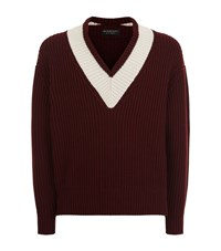 Burberry Runway V Neck Chunky Knit Sweater Male Burgundy