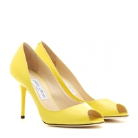Jimmy Choo Evelyn Patent Leather Peep Toe Pumps Yellow