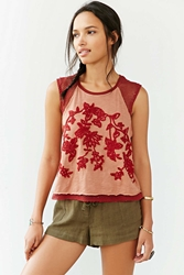 Ecote Floral Embroidered Muscle Tee
