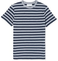 Officine Generale Striped Knitted Cotton T Shirt Gray