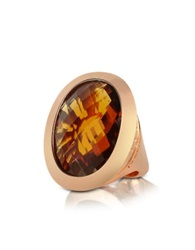 Rebecca Tropezienne Large Oval Amber Hydrothermal Stone Ring Gold