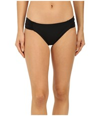 Lablanca Island Goddess Shirred Side Hipster Bikini Bottom Black Women's Swimwear
