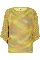 M Missoni Stretch Jersey And Silk Crepe Top Lime Green