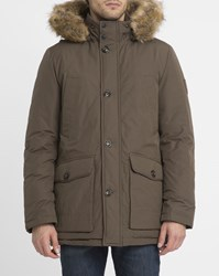 Tommy Hilfiger Khaki Hampton Removable Fur Collar Parka