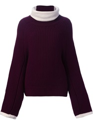Toga Pulla Oversized Roll Neck Sweater Pink And Purple